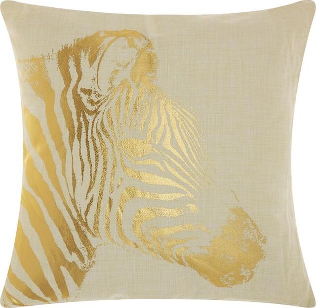"18""x18"" Mina Victory Luminecence Metallic Zebra Beige And Gold Throw Pillow."