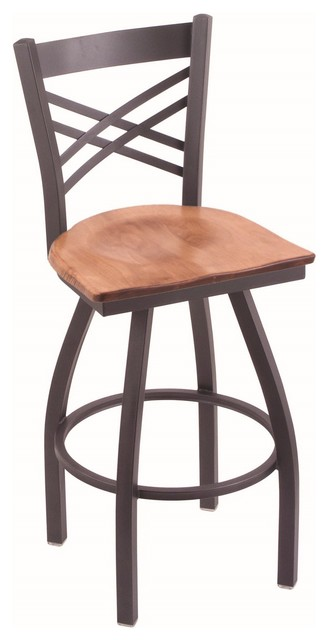 820 Catalina 36 Bar Stool Pewter Finish Dark Cherry Maple Seat