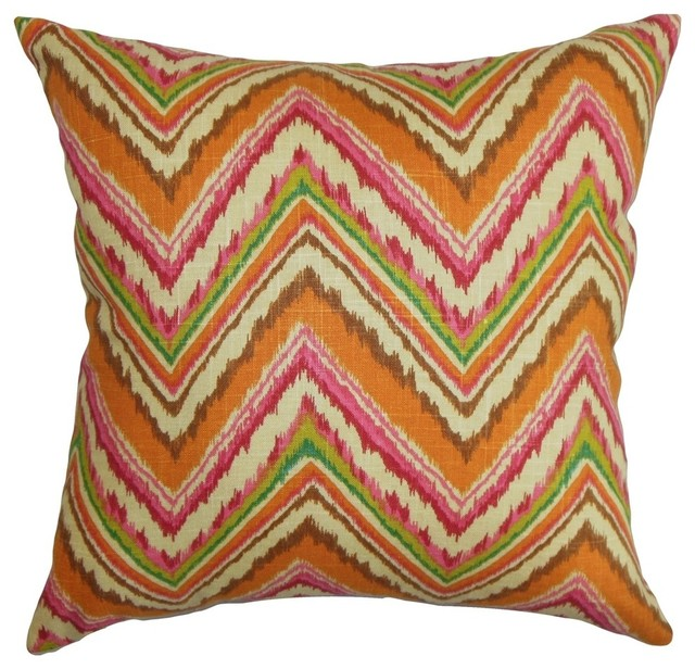 """Dayana Zigzag Pillow Teal Red 18""""x18"""""""