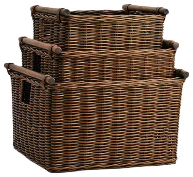 Deep Pole Handle Wicker Storage Basket, Antique Walnut Brown, Extra Large