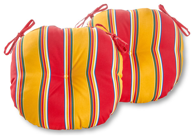 Round Outdoor 15 in. Bistro Chair Cushion, Set of 2, Carnival Stripe