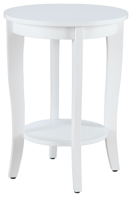 American Heritage Round End Table, White.
