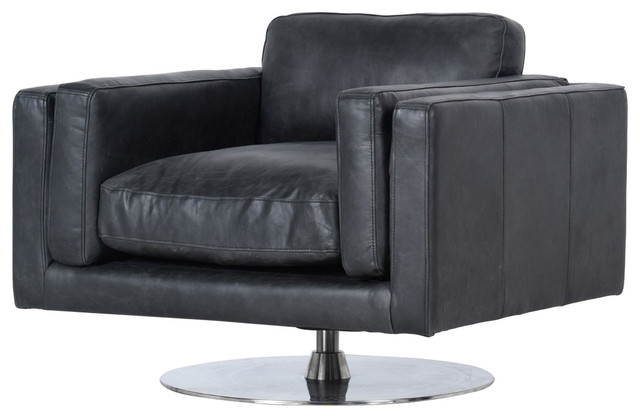 Astounding Locke Modern Ebony Black Leather Swivel Chair Squirreltailoven Fun Painted Chair Ideas Images Squirreltailovenorg