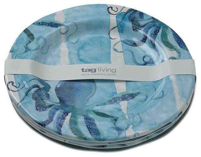 octopus melamine dinner plates set of 4