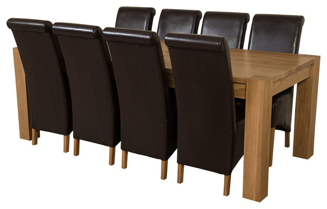 Kuba Chunky Oak Dining Table With 8 Montana Chairs, 220 cm, Brown Leather