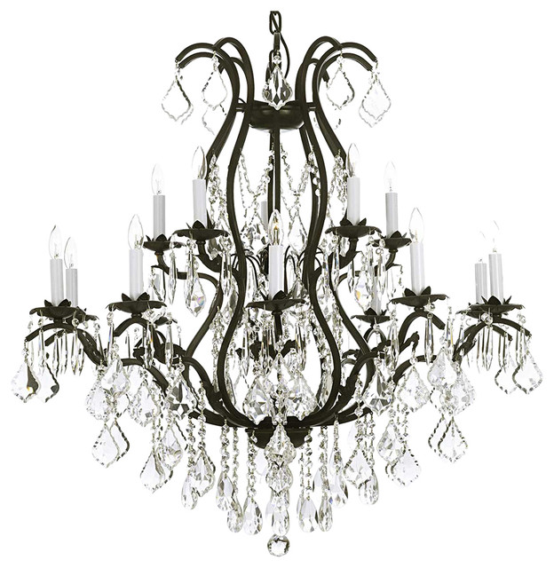 The Gallery Wrought Iron Chandelier Dressed With Swarovski Crystal – Wrought Iron Chandeliers with Crystal