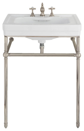 Lutezia 28 inch console lavatory sink by porcher for Pedestal sink with metal legs