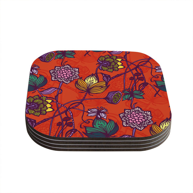 Gill eggleston garden blooms hot orange red floral for Best coasters for sweaty drinks