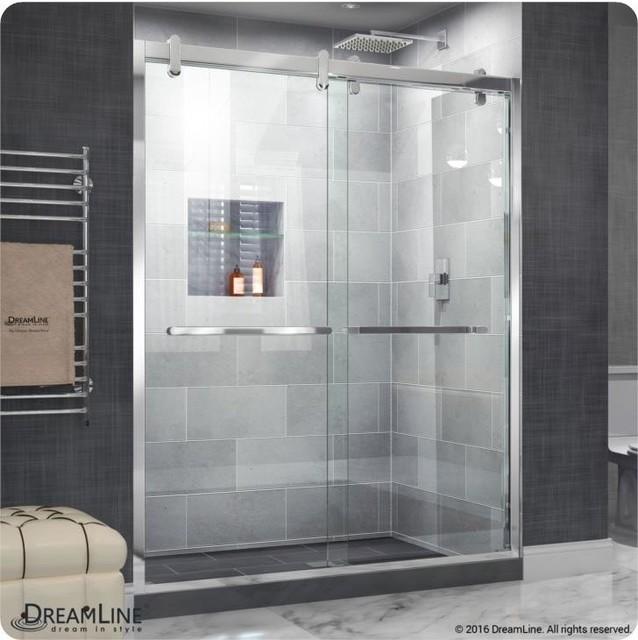Cavalier Semi Frameless Byp Shower Door Polished 56