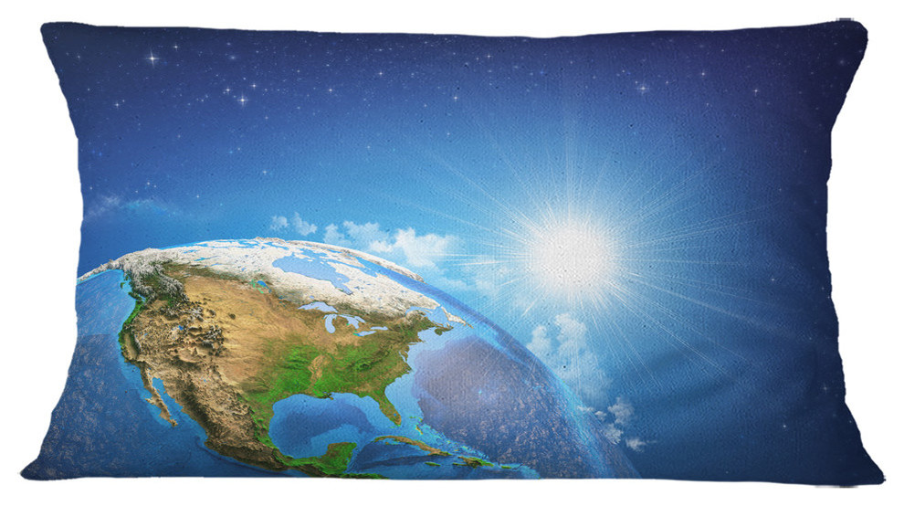 Sunrise Over The Earth Landscape Abstract Throw Pillow Contemporary Decorative Pillows By Design Art Usa