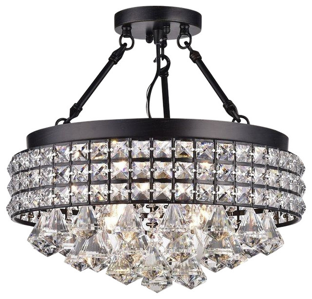 Aello 4-Light Crystal Semi Flush Mount.