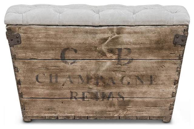 Reims French Country Aged Wood Light Grey Storage Crate