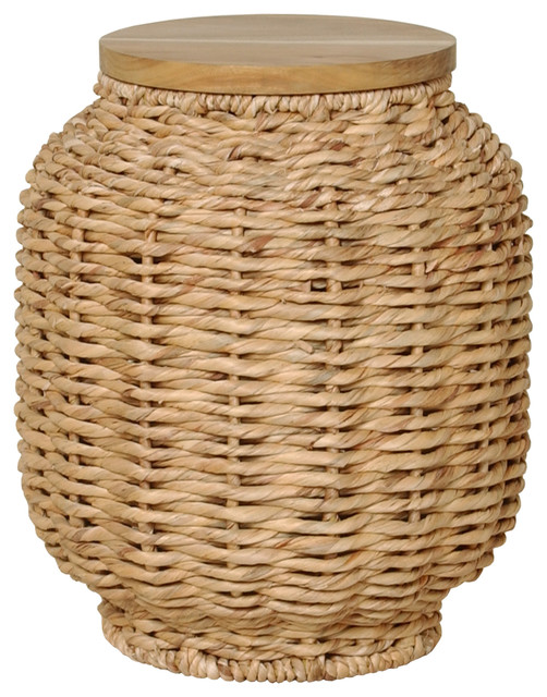 Water Hyacinth And Wood Lantern Stool Tropical Accent