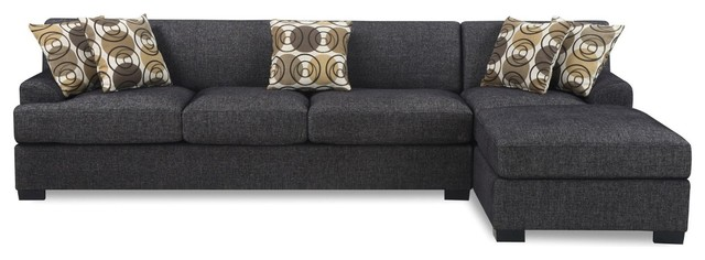 Beau Modern 2 Piece Reversible Sectional Sofa Chaise With Accent Pillows, Dark  Gray