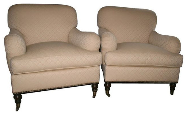 Pair Of Club Chairs In Ivory Kravet Fabric   $1,200 Est. Retail   $750 On