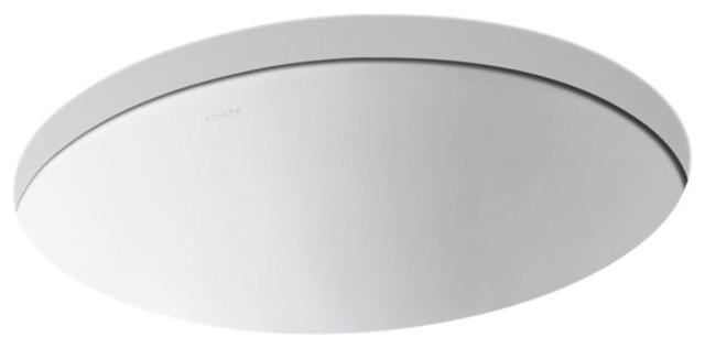 Kohler Caxton Oval 17x14 Under-Mount Bathroom Sink With Center Drain, White.
