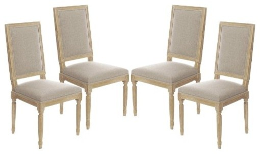 vintage-style french square upholstered side dining chairs
