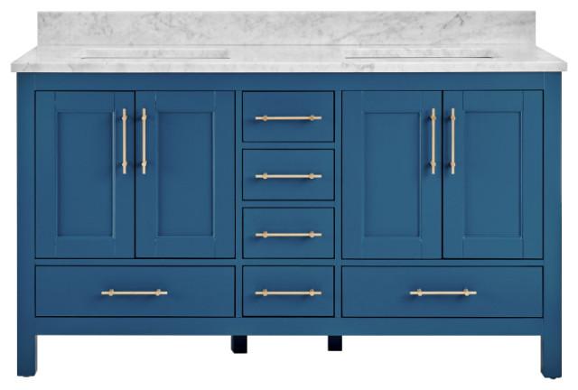 """Kendall Blue Bathroom Vanity, 60"""", Vanity With Carrara Marble Top"""