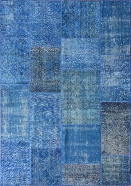 Rugsville Vintage Turkish Overdyed Patchwork Mazzarine Blue Rug 9x12 Area  Rugs