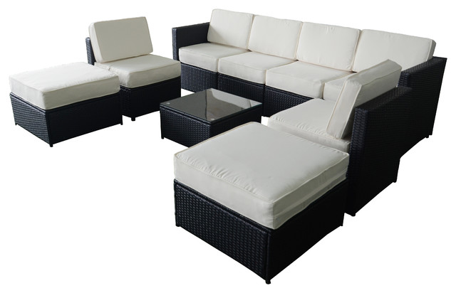 MCombo 9 Piece Black Wicker Creme White Cushion Patio Sectional, Furniture  Set Modern