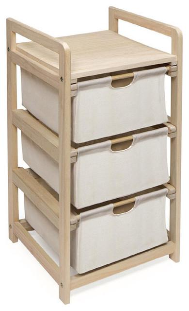 Badger Basket Co Natural/unfinished Three Bin Hamper/storage Unit.