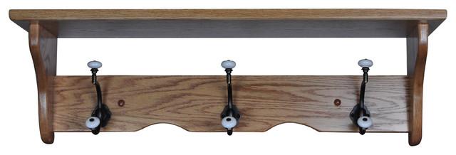 Oak Amish Wall Mounted Coat Rack Shelf Handmade Fruitwood Stain