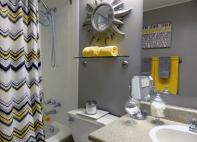 Grey and Yellow Bathroom - Contemporary - Toronto - by Dominika Pate Yellow And Teal Bathroom on teal and brown curtains, teal and grey color scheme, teal and white stripes, teal and coral wedding tables, teal and beige living room, vintage mint green bathroom, navy and coral bathroom, blue and white master bathroom, teal restroom, teal blue bathroom, teal and gray chevron shower curtain, teal bathroom color, teal bath, ugly bathroom, teal orange and white, teal kitchen walls with white cabinets, teal and gold wedding decor, gold bathroom, teal accents in bathroom, teal bathroom ideas,
