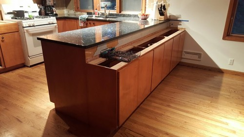 how to install a kitchen cabinet on the wall mid century modern mcm kitchen peninsula waterfall depth 9909