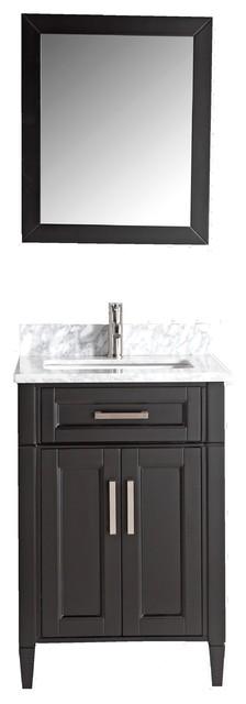 Antoinette Marble-Top Transitional Bathroom Vanity, Espresso, 24.