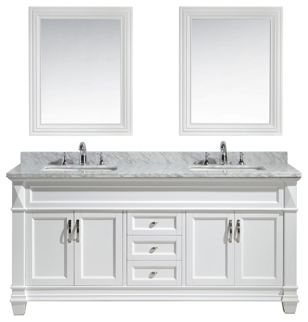 "Hudson 72"" Double Sink Vanity Set, White With White Carrara Marble Countertop."