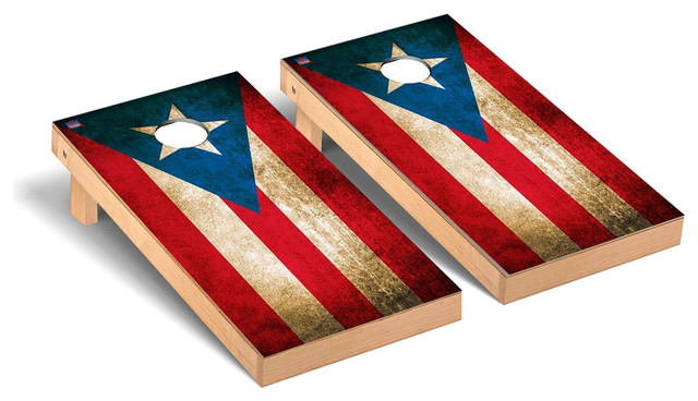 Puerto Rico Flag Vintage Regulation Cornhole Game Set