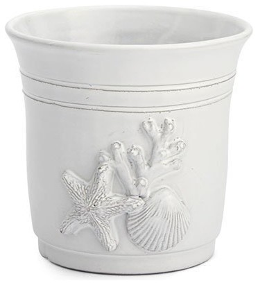 Coastal White Ceramic Kitchen Utensil Holder Cachepot Arte Italica Seashell Beach Style Holders And Racks By My Sy Home