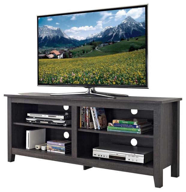 58 Tv Media Stand Storage Console Transitional Entertainment