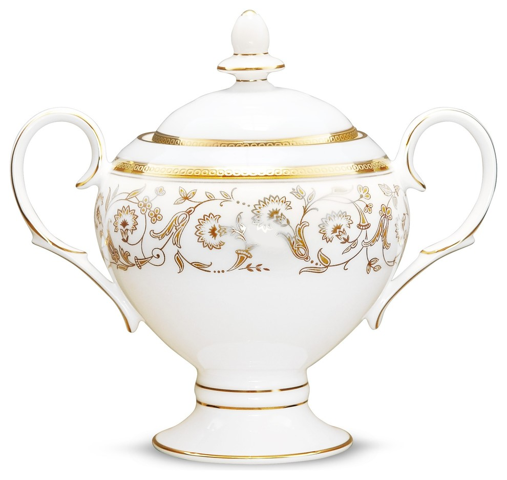 Noritake Summit Gold Sugar Bowl Traditional Sugar Bowls And Creamers By Unique Gifts