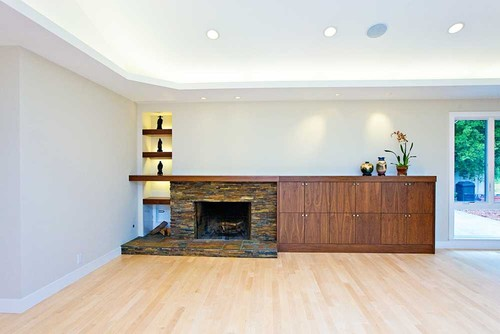 family room fireplace with vaulted cieling and deep niches modern family room
