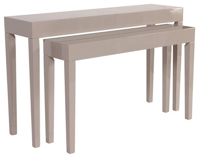 Howard Elliott Glossy Taupe Nesting Console Table Set Contemporary Console  Tables