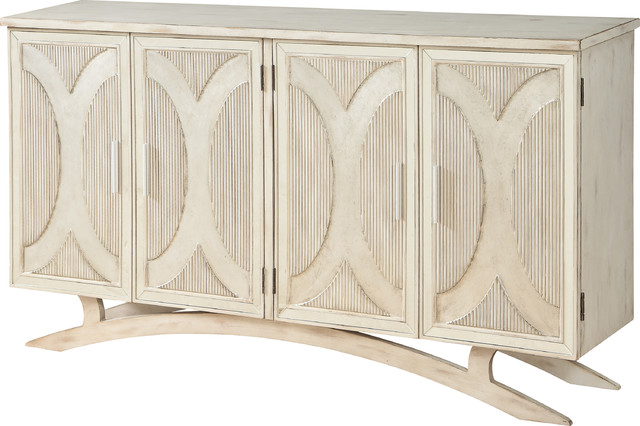 Millicent 4-Door Media Credenza, Millicent White, Silver Rub by Coast to Coast Imports, LLC