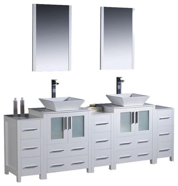 Fresca 84 Inch Double Bathroom Vanity With Side Cabinets - Bathroom ...
