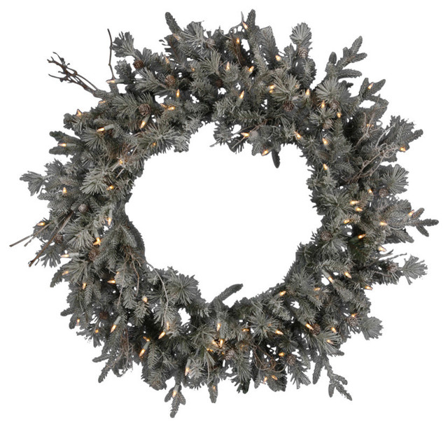 "36"" Pre-Lit Frosted Wistler Fir Artificial Christmas Wreath, Clear Dura Lights"