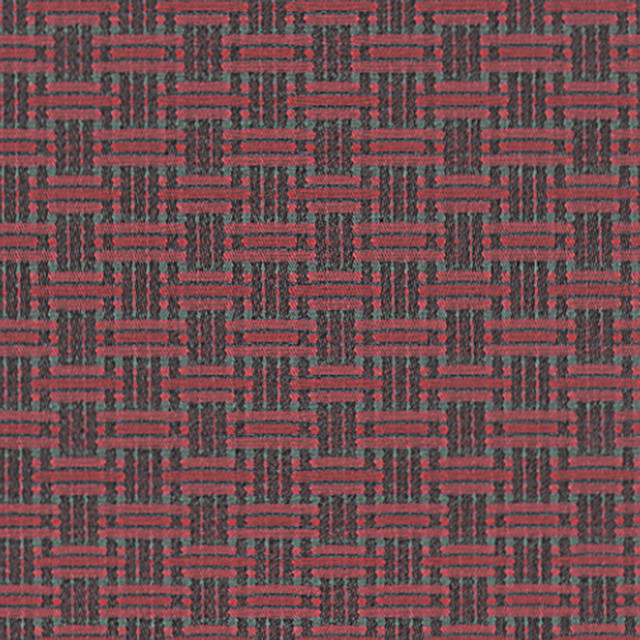 Equator Rain Forest Red True Geometric Woven Upholstery Fabric