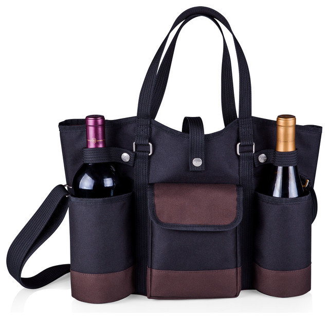 Wine Country Tote-Black With Merlot Trim - Modern - Picnic Baskets - by Shop Chimney