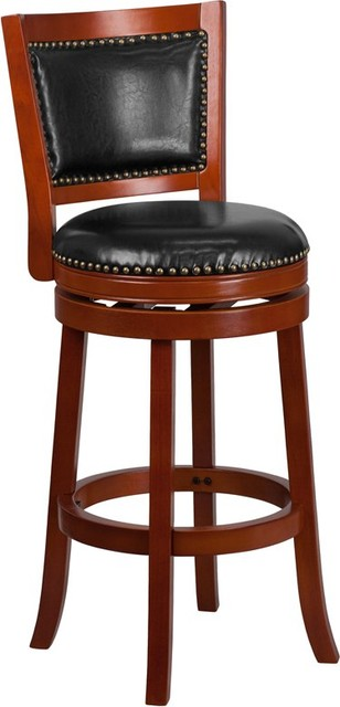 Estella 30&x27;&x27; Panel Back Light Cherry Wood Bar Stool With Black Leather.
