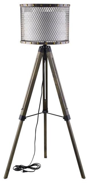 56.5 in. 1-Light Floor Lamp in Antique Silver