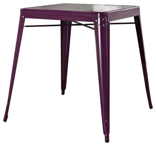 Amelia Metal Cafe Table, Purple Industrial Dining Tables