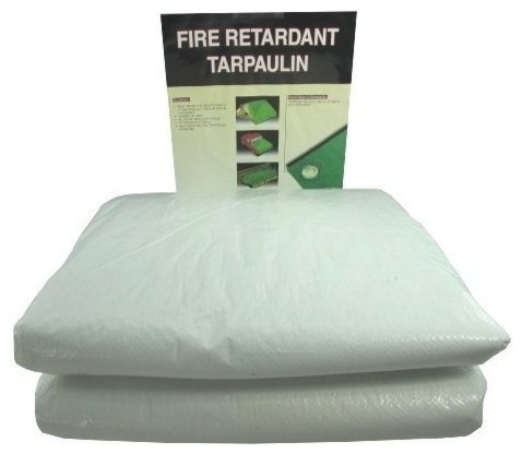 20&x27;x30&x27; White Fire Retardant Tarp With Grommets.