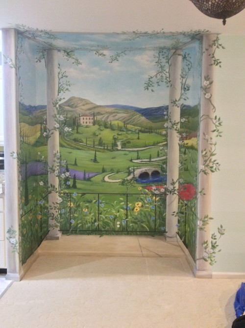 Tuscan Trompe L\'oeil Mural is the perfect solution to an unused space.