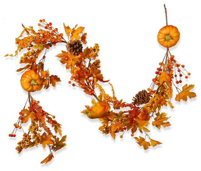 "72"" Maple Leaf And Pumpkins Garland."
