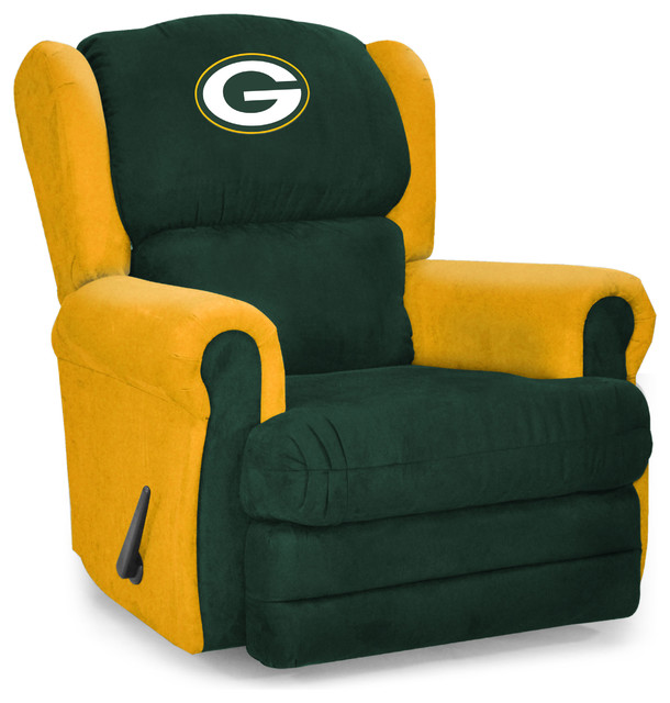 Green Bay Packers Coach Recliner Contemporary Game Room And Bar Decor