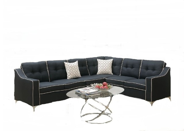 Leiden Modern Sectional Sofa, Black Polyfiber with Free Accent Pillows