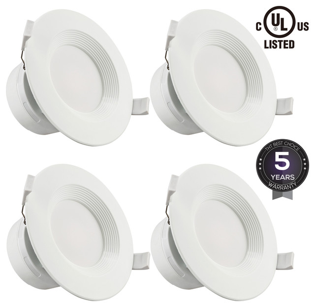 4 pack 4 inch led recessed downlight with junction box soft white